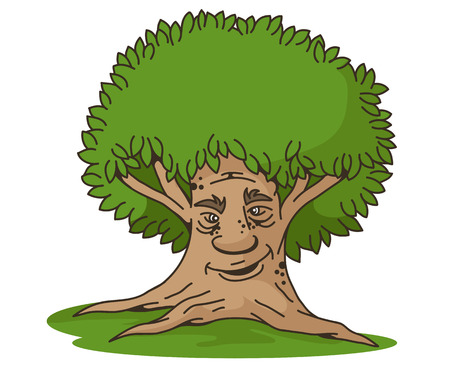 Smiling fabulous tree, vector illustration