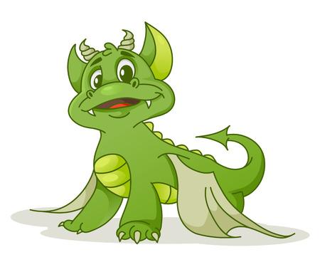 green cute: Cute cartoon dragon, vector illustration