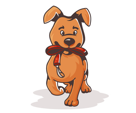 Cartoon dog with the collar, vector illustration Ilustrace