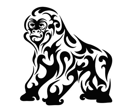 Gorilla patterned black and white, vector illustration Illustration