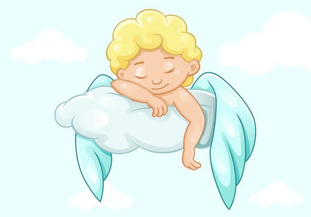 Cute sleeping  little angel, vector illustration