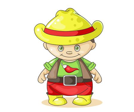 colorful vector illustration cartoon boy cowboy