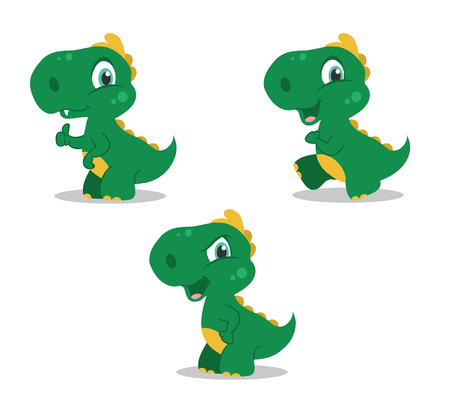 t rex: set of little funny dinosaurs playing. Vector illustration. Illustration