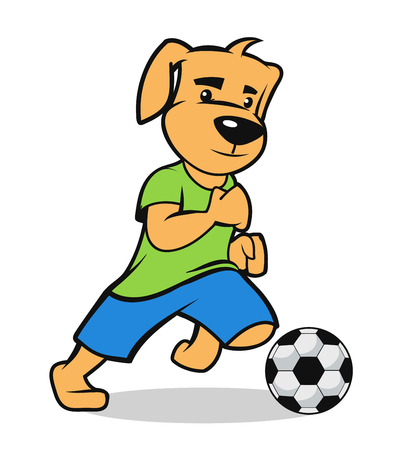 cute sportive puppy participate on a soccer game Ilustrace