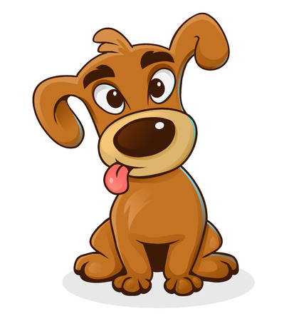 Cartoon funny dog isolated on white, vector illustration