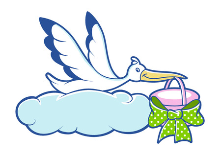 stork bird with basket, vector illustration