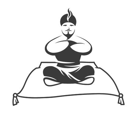 Gin on flying magic carpet isolated on white background, vector illustration