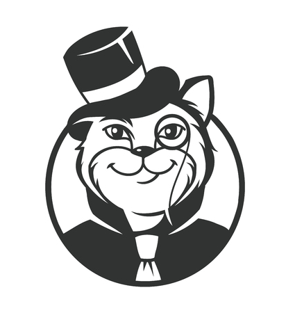 Black and white vector icon gentleman cat