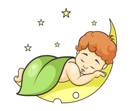 baby sleeping on the moon colorful vector illustration