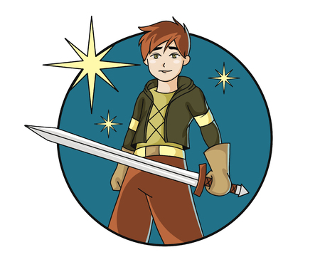 Robin Hood boy with the sword colorful vector illustration