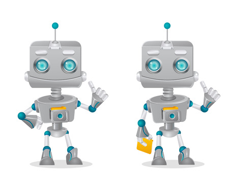 two cute robots gesturing isolated on white background, vector illustration