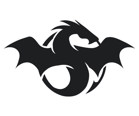 black and white dragon: silhouette of black big dragon isolated on white background, vector illustration