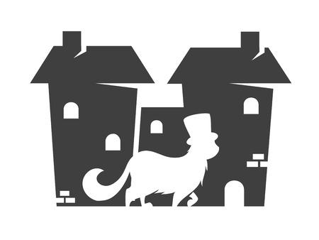 마을의 고양이의 벡터 실루엣