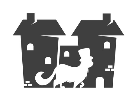 Vector silhouette of a cat in town