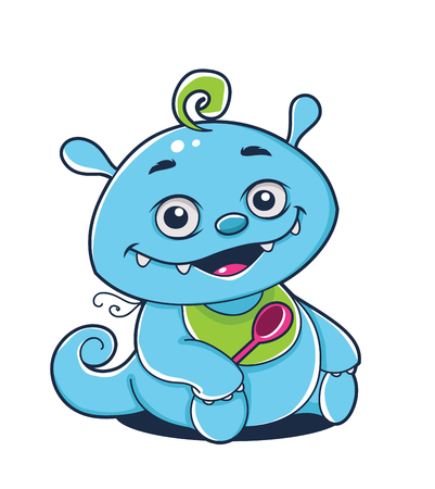 Blue aien baby character, vector illustration