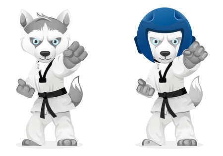 Serious cartoon husky dogs showing martial arts isolated on white background, vector illustration