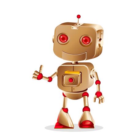 흰색 배경에, 벡터 일러스트를 격리하는 귀여운 로봇 몸짓
