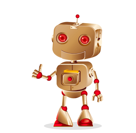 gesturing: cute robot gesturing isolated on white background, vector illustration
