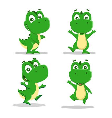 set of little funny dinosaurs playing. Vector illustration. Illustration
