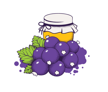 honey in jar and berries, vector illustration Illustration