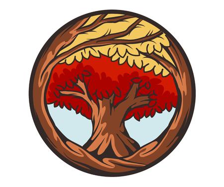 마스코트 붉은 나무 다채로운 벡터 일러스트 레이 션 스톡 콘텐츠 - 58595872