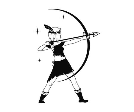 silhouette of girl hunter black and white vector illustration Illustration