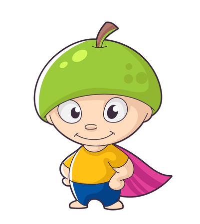 cute fruit hero, vector illustration