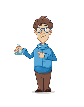 cartoon male scientist, vector illustration