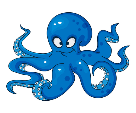 Blue cartoon octopus isolated on white background, vector illustration