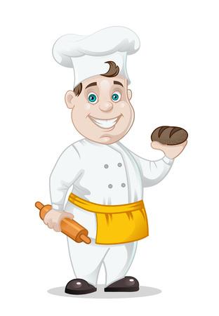흰색 배경에 고립 된 빵과 롤링 핀 최고 밥솥, 벡터 일러스트 레이 션 스톡 콘텐츠 - 58595877