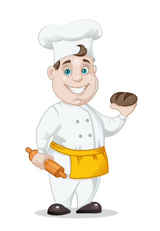 chief-cooker with bread and rolling-pin isolated on white background, vector illustration