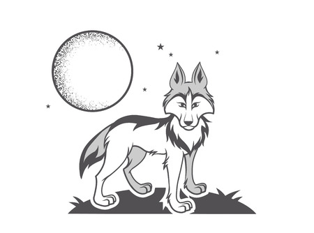 Vector illustration black and white wolf