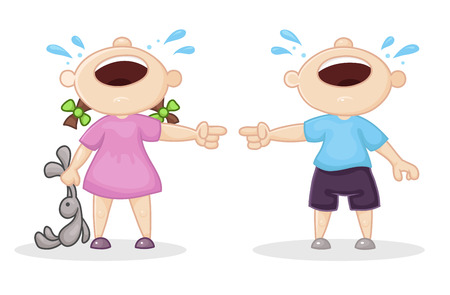 offended boy and girl, vector illustration
