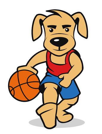 dog playing basketball, vector illustration