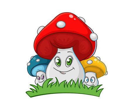 귀여운 미소 버섯 가족 흰색 배경에 고립, 벡터 일러스트 레이 션