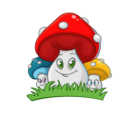 cute smiling mushrooms family isolated on white background, vector illustration