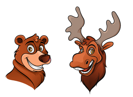 Cheerful bear and moose colorful vector illustration Illustration