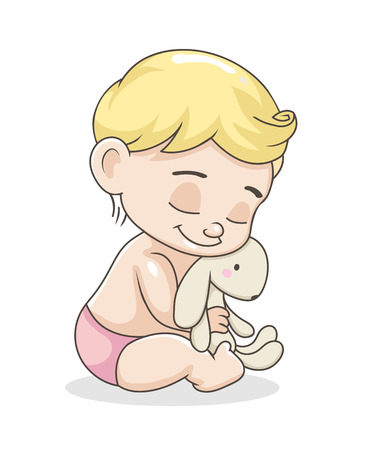 Cute baby boy with toy. Illustration