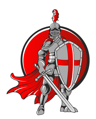 vector Illustration of knight holding sword with red circle background isolated on white background