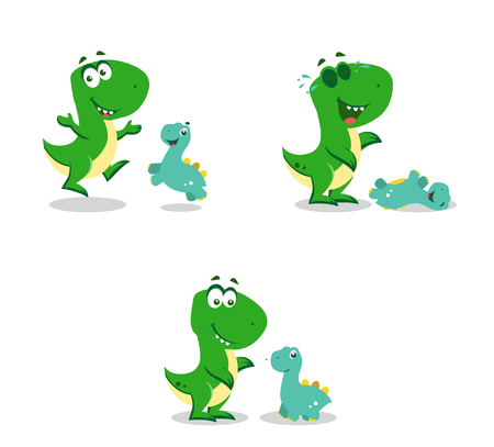 little funny dinosaurs playing. Vector illustration.