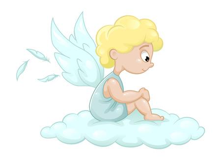 Netter kleiner Engel, Vektor-Illustration Standard-Bild - 58459944