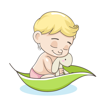baby illustration: Cute baby boy with toy. vector illustration