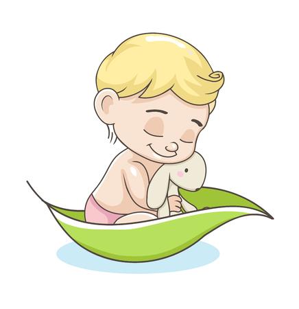 Schattige baby jongen met speelgoed. vector illustratie