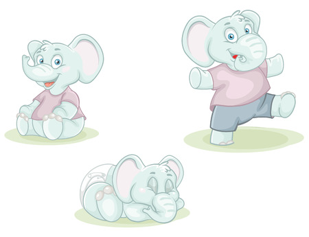 colorful vector illustration cartoon little elephants