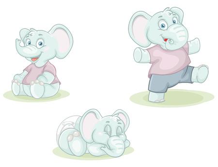 colorful vector illustration cartoon little elephants