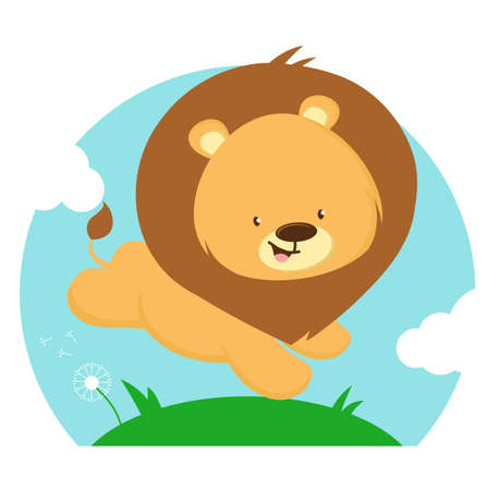 cute baby lion on the lawn, vector illustration