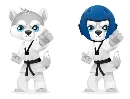 cartoon husky honden zien martial arts op een witte achtergrond, vector illustratie