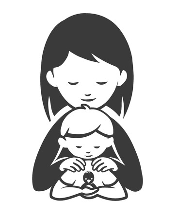 affectionate actions: silhouette mother with her son who is holding a bird