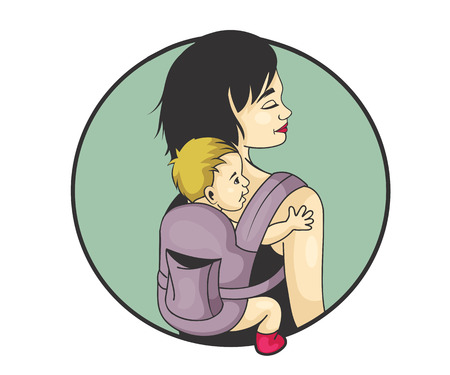 woman carrying baby colorful vector illustration Reklamní fotografie - 58459965