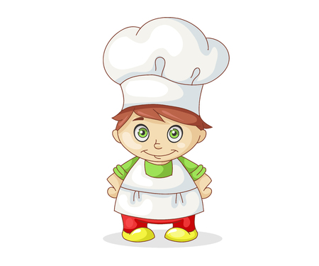 Pretty little chief-cooker isolated on white background, vector illustration Illustration
